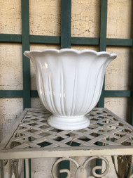 "9"" White Glazed Urn Planter Pot - Vintage NEW OLD STOCK!"