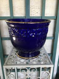 """12"""" Cobalt Blue / Gold Glazed Planter Pot - Vintage NEW OLD STOCK!"""