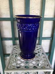 """7"""" Cobalt Blue / Gold Glazed Planter Pot / Vase - Vintage NEW OLD STOCK!"""