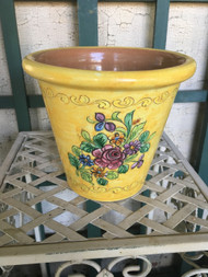 "7"" Yellow Floral Glazed Planter Pot - Vintage NEW OLD STOCK!"