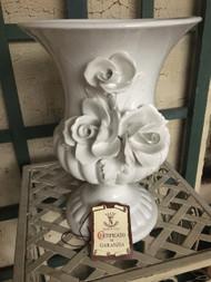 "8"" White Glaze Capodimonte Rose Urn Planter Pot / Vase - Vintage NEW OLD STOCK!"
