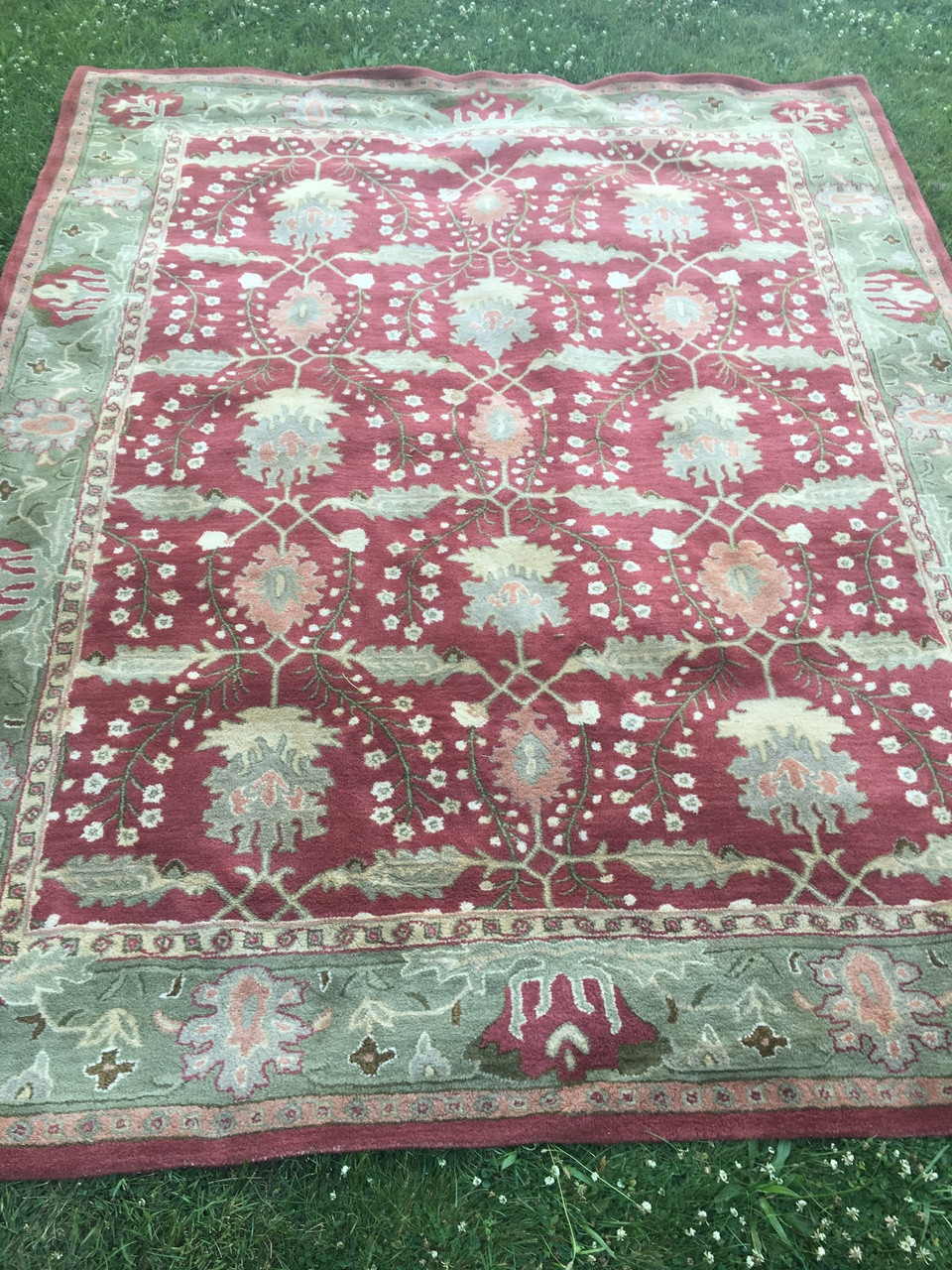 Pottery Barn Franklin Red / Green Area Rug 8' x 10 ...