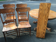 "48"" Round Solid Oak Clawfoot Table w/ 2 leaves and 4 Pressback Chairs"