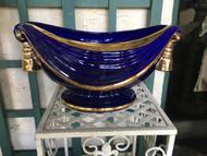 """16"""" x 11"""" Oval Cobalt Blue / Gold Glazed Planter Pot - Vintage NEW OLD STOCK!"""