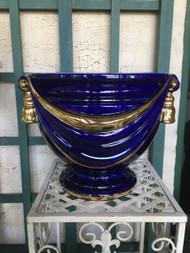 """14"""" Cobalt Blue / Gold Glazed Planter Pot w/ Tassles- Vintage NEW OLD STOCK!"""
