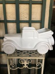 Antique Car White Glazed Ceramic Planter