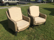 Pair of Woven Resin Patio Chairs