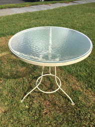 "White 30"" Round Patio Cocktail Table"