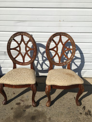 Pair of Round Back Cherry Accent Chairs