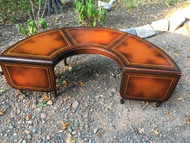 Antique Mahogany Leather Top Horseshoe Coffee Table