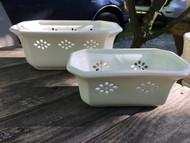 Set of 2 Rectangular White Orchid Flower Pots -  Vintage NEW OLD STOCK!
