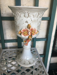 "8"" Antique White Glazed Capodimonte Urn Planter Pot - Vintage NEW OLD STOCK!"