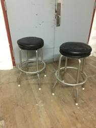 Pair of Vintage Chrome / Black Barstools
