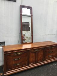 Asian Influence Long 9 Drawer Dresser w/ Mirror