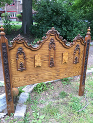 Antique Full Size Carved Oak Headboard