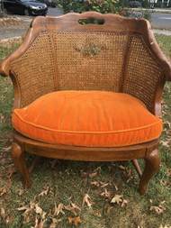 Oak Caned Back Club Chair with Orange Seat