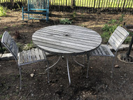 """42"""" Wood Cafe Patio Table w/ 2 Chairs"""