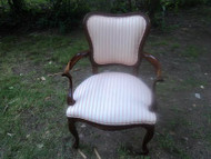 Cherry Queen Anne Upholstered Arm Chair