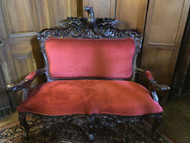 Antique Victorian Rosewood American Eagle Carved Settee
