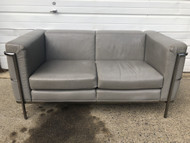Le Corbusier 1928 LC2 Style Loveseat Settee in Gray Leather by Jack Cartwright
