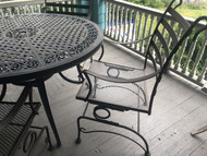 "48"" Patio Table w/ 4 Iron Spring Rocker Arm Chairs"