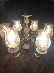 Vintage Brass and Alabaster 6 Arm Chandelier
