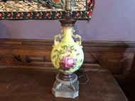 Victorian Green Floral Table Lamp