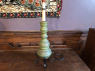 Rustic Green Wood and Iron Table Lamp
