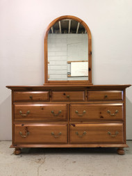 Solid Pine 7 Drawer Dresser w/ Mirror