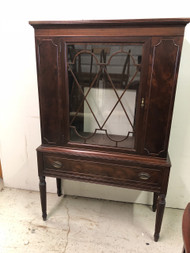 Antique Mahogany China  Cabinet w/ Fluted Legs