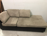 Black Grey Suede Microfiber Chaise Sofa