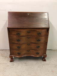 Antique Serpentine Front Secretary Desk