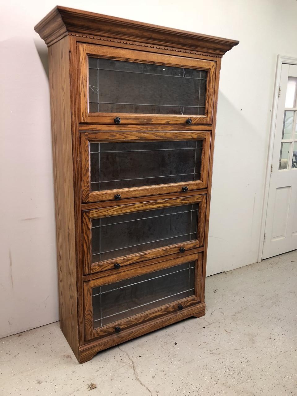 Large Oak Barrister Bookcase w/ Leaded Glass - Forgotten ...