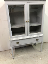 Vintage Grey Painted China Cabinet