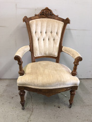 Victorian Eastlake Velvet Arm Chair