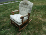 Antique Oak Upholstered Rocking Chair