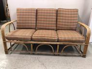 5ft Rattan Sofa w/ Plaid Cushions