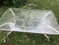 rectangle glass patio table w/ umbrella hole