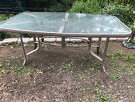 rectangle reeded glass patio table w/ umbrella hole