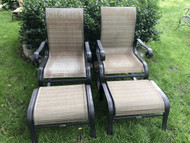 Pair of Aluminum Patio Chairs w/ Ottomans