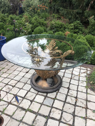 "48"" Tempered Glass Patio Table with Decorative Pedestal"