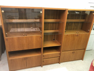 Mid Century Modern 3pc Teak Wall Unit