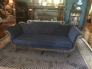 Antique Duncan Phyfe Navy Blue Suede Sofa - Newly Reupholstered