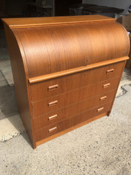 Danish Modern Teak Roll Top Secretary Desk