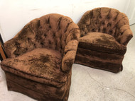 Pair of Brown Tufted Velvet Swivel Rocker Arm Chairs