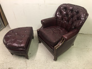 Vintage Red Leather Tufted Arm Chair and Matching Ottoman