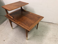 Mid Century Modern Walnut Tiered End Table