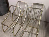 Set of 4 Vintage Brass Wire Frame Chairs