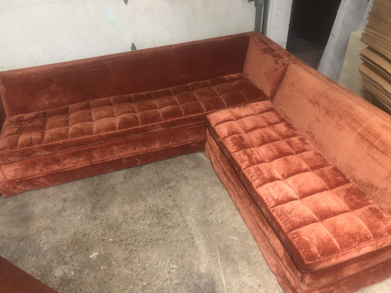 san francisco 8e4d5 42299 Harvey Probber MCM Orange Velvet Sectional Sofa