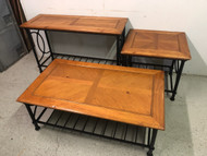 3pc Iron/Pine Table Set Sofa, Coffee, End Tables